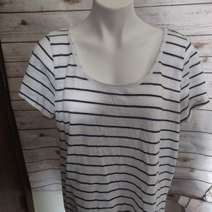 Torrid blue and white striped tee crochet detail